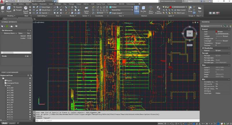 screenshot dakconstructie pointcloud autocad