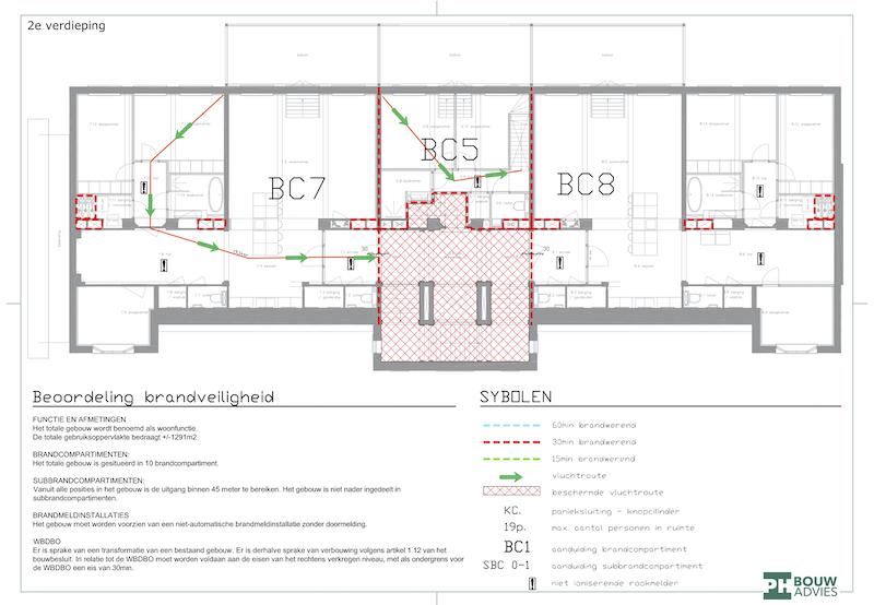 PH Bouwadvies maakte deze plattegrond voor beoordeling brandveiligheid binnen de Bouwbesluittoets voor de voormalige Schippersschool in Rotterdam
