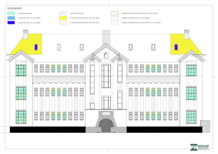 Voorbeeld van de geluidwerende maatregelen die PH Bouwadvies voorstelt voor Bouwbesluittoets Schippersschool Rotterdam